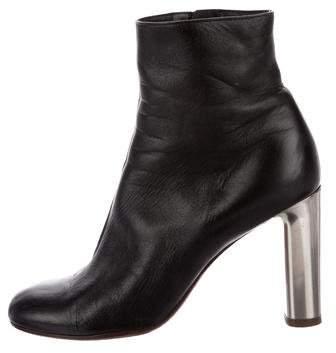 Céline Leather Square-Toe Ankle Boots