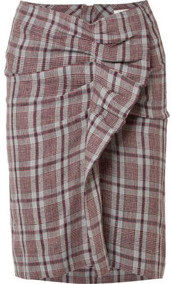 Etoile Isabel Marant Ines Ruffled Checked Linen Skirt - Brick