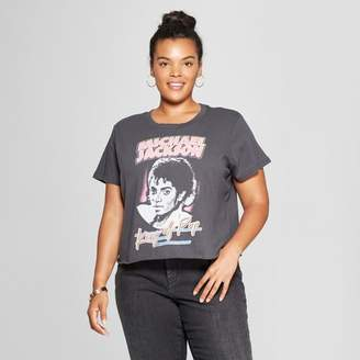 Mighty Fine Women's Michael Jackson Plus Size King of Pop Short Sleeve Cropped Graphic T-Shirt (Juniors') Black
