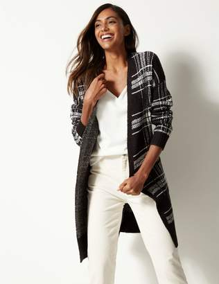 Marks and Spencer Checked Longline Cardigan