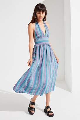 Urban Outfitters Betsey Linen Halter Midi Dress