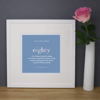 Designed Personalised 80th Birthday Print And Mount