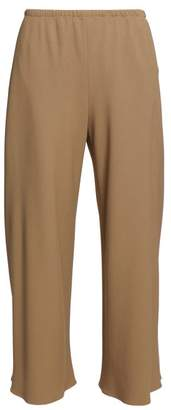 The Row Vala High Rise Crepe Trousers - Womens - Dark Beige