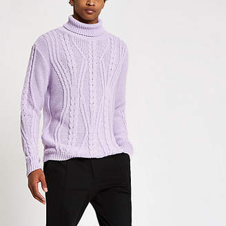 River Island Lilac chunky cable knit roll neck sweater