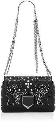 Jimmy Choo LOCKETT PETITE Black Mix Grainy Leather Shoulder Bag with Graphic Star Studded Embellishment