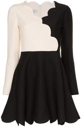 Valentino Scalloped wool and silk-blend dress