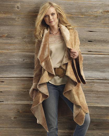 Fabulous shawl collar faux-shearling coat