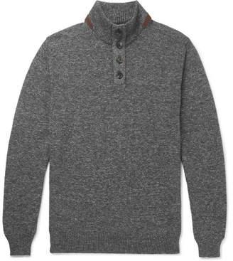 Ermenegildo Zegna Suede-Trimmed Mélange Cotton Sweater