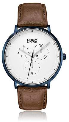 HUGO BOSS Three-hand watch with textured leather strap