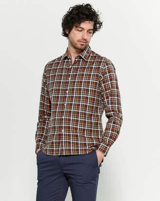 Altea Orange & Navy Check Long Sleeve Shirt