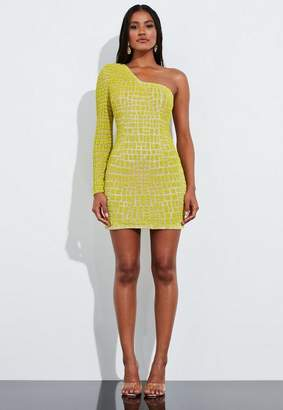 Missguided Yellow Bead Embellished One Shoulder Detail Mini Dress