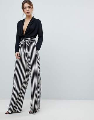 boohoo Tie Waist Striped Wide Leg Pants