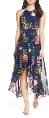 Eliza J Floral Print Chiffon Halter Dress