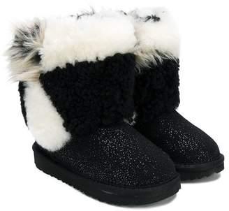 UGG short patchwork fluff boots
