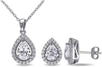 FINE JEWELRY Lab-Created White Sapphire Sterling Silver Earrings & Pendant 2-Piece Set