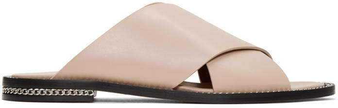 Givenchy Beige Criss Cross Slide Sandals