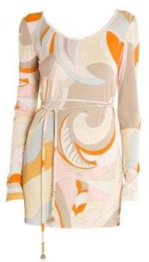 Emilio Pucci Print Jersey Belted Tunic Top