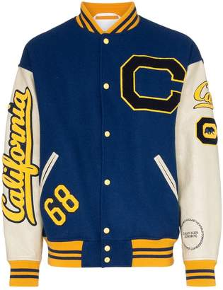 Calvin Klein C-patch wool and leather varsity jacket