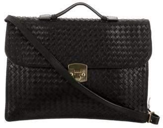 Bottega Veneta Leather Intrecciato Briefcase Black Leather Intrecciato Briefcase