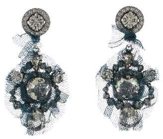 Lanvin Crystal & Mesh Clip-On Earrings