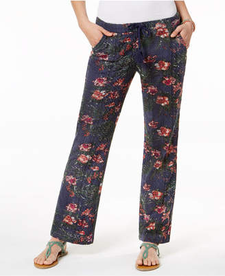 Roxy Juniors' Rainbow Bridge Printed Crochet Soft Pants