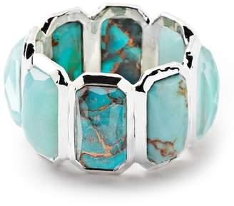 Ippolita Sterling Silver Bezel Set Semi-Precious Stone Brick Band Ring - Size 7