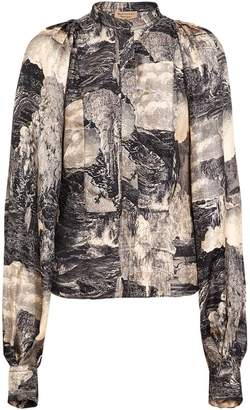 Burberry Puff-sleeve Dreamscape Print Silk Blouse