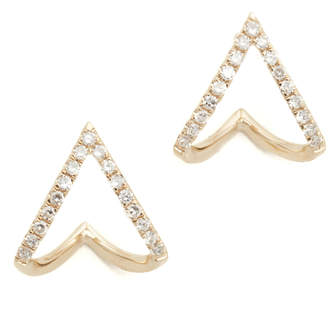 Ef Collection 14k Gold Diamond Mini Chevron Wrap Stud Earrings