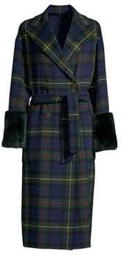 Max Mara Diego Rabbit Fur-Trimmed Plaid Coat