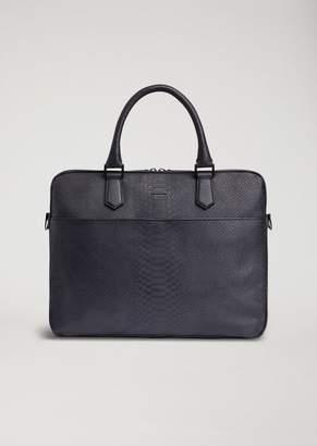 Emporio Armani Briefcase In Snakeskin Print Leather