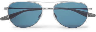 Barton Perreira Aerial Aviator-Style Silver-Tone Titanium Sunglasses