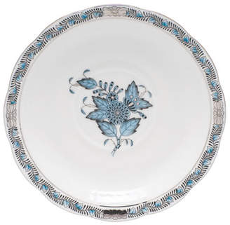 Herend Chinese Bouquet Turquoise & Platinum Tea Saucer