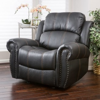 Noble House Rayn Black Faux Leather Gliding Recliner Color Black