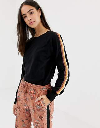 Maison Scotch long sleeved t-shirt with glitter sleeve tape