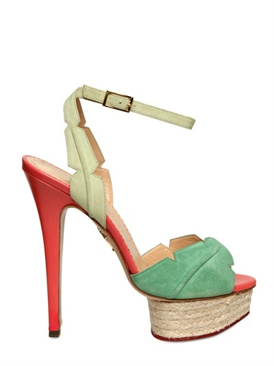 Charlotte Olympia - 150mm Leather & Suede Leaf Sandals