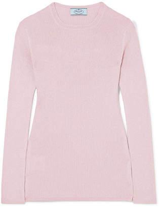 Metallic Ribbed Wool-blend Sweater - Pastel pink