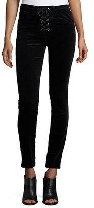 rag & bone/JEAN Velvet Lace-Up High-Rise Skinny Pants, Black $295 thestylecure.com