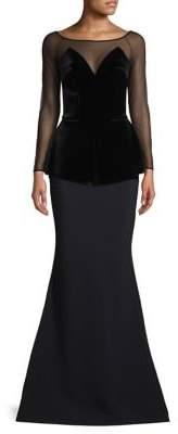 Chiara Boni Illusion-Sleeve Peplum Gown
