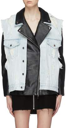 Alexander Wang Alexanderwang Detachable denim vest panel oversized leather moto jacket