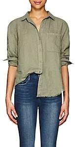 Frame Women's Slub-Weave Linen Blouse-Olive