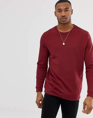 Asos DESIGN Longline Sweatshirt In Burgundy