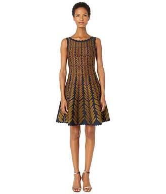 Zac Posen Leaf Jacquard Sleeveless Fit and Flare Knit Dress