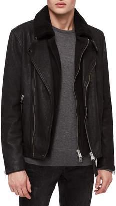AllSaints Hanoi Regular Fit Genuine Lambskin Shearling Trim Leather Biker Jacket