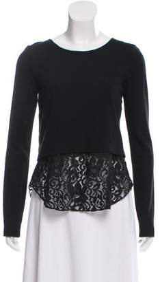 Theory Lace-Trimmed Long Sleeve Top