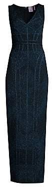 Herve Leger Women's Sleeveless V-Neck Lurex Jacquard Dress