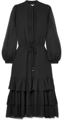 MICHAEL Michael Kors Tiered Chiffon Midi Dress - Black
