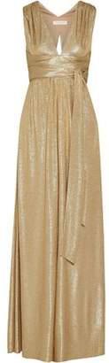 Halston Belted Metallic Cloqué Gown