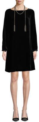 Eileen Fisher Velvet Bateau-Neck Shift Dress, Petite
