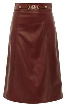 3b23f704c Gucci French Plonge Leather A Line Skirt - Womens - Burgundy