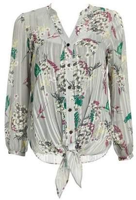 Wallis Petite Silver Floral Tie Shirt